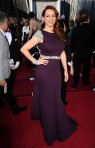 Maya Rudolph wore a custom Johanna Johnson 'Claret' Italian silk wool gown hand