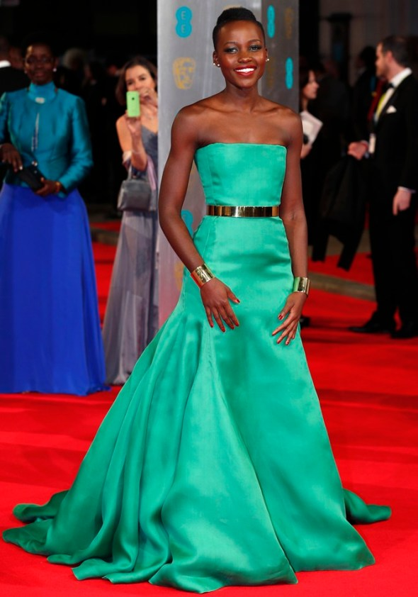 Lupita Nyong'o arrives at  the British Academy of Film and Arts awards ceremony at the Royal Opera House in London